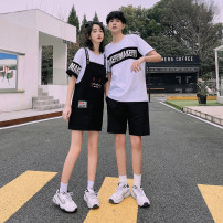 T-shirt Youth fashion routine Francis Short sleeve Crew neck easy Other leisure summer Cotton 95% polyester 5% Couples dress routine Youthful vigor Spring 2021 Geometric pattern Different color hemming Cartoon animation No iron treatment Fashion brand Pure e-commerce (online only)