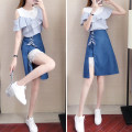 Dress Summer of 2019 Picture color S M L XL Mid length dress Two piece set Short sleeve commute Crew neck High waist Solid color Socket A-line skirt routine Others 18-24 years old Type A Get some More than 95% other Other 100% Pure e-commerce (online only)