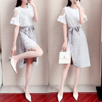 Dress Summer 2020 Picture color S M L XL Mid length dress Two piece set Short sleeve commute Crew neck High waist Solid color Socket A-line skirt pagoda sleeve 18-24 years old Type A Get some Lace up button mesh More than 95% other Other 100% Pure e-commerce (online only)