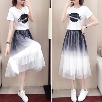 Dress Summer of 2019 Picture color S M L XL Mid length dress Two piece set Short sleeve commute Crew neck High waist Socket A-line skirt routine Others 18-24 years old Type A Get some Embroidered gauze Sequin More than 95% other Other 100% Pure e-commerce (online only)