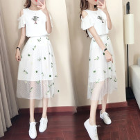 Dress Summer 2020 Picture color S M L XL Mid length dress Two piece set Short sleeve commute Crew neck High waist Socket A-line skirt Lotus leaf sleeve Others 18-24 years old Type A Get some D4037 More than 95% other Other 100% Pure e-commerce (online only)