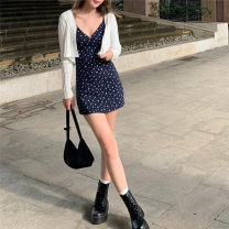 Dress Summer 2021 blue S,M,L Short skirt singleton  Sleeveless commute V-neck High waist Solid color Socket One pace skirt routine 18-24 years old Type H Retro WXQVCD12883 More than 95% other