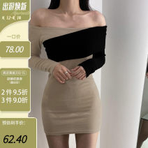 Dress Winter 2020 Khaki, black S,M,L Short skirt singleton  Long sleeves commute One word collar High waist Solid color Socket One pace skirt Others 18-24 years old Type H Korean version Splicing, resin fixation WXQMLD00937 51% (inclusive) - 70% (inclusive) cotton