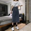 skirt Winter 2020 XL XS S M L Dark blue, blue grey longuette commute High waist A-line skirt Solid color Type A 18-24 years old 567 blue Denim Falling silk rain pocket