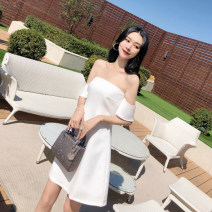 Dress Summer of 2018 White, black XS,S,M,L,XL singleton  Short sleeve commute High waist Solid color zipper A-line skirt Breast wrapping 18-24 years old Type A lady