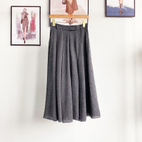 skirt Summer 2020 S,M,L,XL dark grey Mid length dress commute High waist A-line skirt Solid color Type A 30-34 years old 91% (inclusive) - 95% (inclusive) other Tagkita / she and others silk Pleats, buttons Ol style