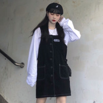 Dress Autumn of 2019 black Average size Miniskirt singleton  Sleeveless commute Loose waist other 18-24 years old Type H Other / other Korean version 71% (inclusive) - 80% (inclusive) other cotton