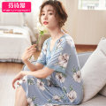 Pajamas / housewear set female On the poetry Polyester (polyester) Short sleeve luxurious pajamas summer Thin money V-neck Plants and flowers Socket middle age 2 pieces rubber string modal  printing Modal fiber (modal) 94% polyurethane elastic fiber (spandex) 6% Spring 2020 Middle-skirt