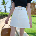 skirt Summer of 2019 2XL S M L XL Army Green White Black Short skirt commute High waist A-line skirt Solid color Type A 18-24 years old C318# 81% (inclusive) - 90% (inclusive) Denim His company cotton Pocket button zipper Korean version Cotton 85% polyester 9% viscose 6% Pure e-commerce (online only)