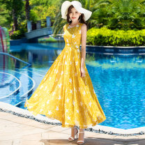 Dress Summer of 2018 05 yellow star S M L XL XXL XXXL longuette singleton  Sleeveless commute V-neck High waist Decor Socket Big swing Others 25-29 years old Type X Pleasant style lady Ruffle printing A2-5 More than 95% Chiffon polyester fiber Polyester 100% Pure e-commerce (online only)