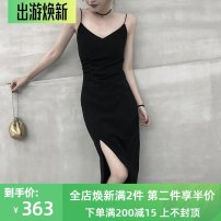 Dress Summer 2021 black XS,S,M,L,XL Mid length dress singleton  Sleeveless commute V-neck High waist Solid color other A-line skirt routine camisole 25-29 years old Type A Other / other Korean version 31% (inclusive) - 50% (inclusive) other other