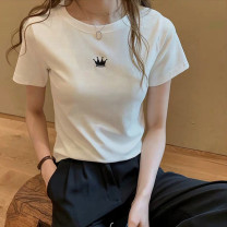 T-shirt White, gray, black S,M,L,XL Summer 2021 Short sleeve Crew neck Self cultivation Regular routine commute cotton 30% and below 25-29 years old Simplicity classic Letters, solid color Other / other printing