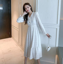 Dress Autumn 2020 White, white long sleeves, red long sleeves, black long sleeves M suggests 96-105 kg, l 106-115 kg, XL 116-125 kg, s 85-95 kg, 2XL 126-135 kg longuette singleton  Long sleeves commute V-neck High waist Solid color Three buttons Ruffle Skirt puff sleeve Breast wrapping Type A Retro