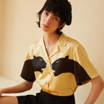 shirt Light yellow spot S,M,L Summer 2020 other 96% and above Short sleeve Original design Regular tailored collar Single row multi button routine other C281
