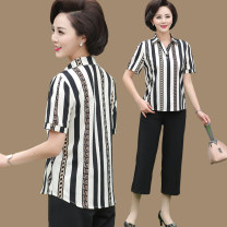 Middle aged and old women's wear Summer of 2019 XL [90-110 Jin] 2XL [110-125 Jin] 3XL [125-140 Jin] 4XL [140-155 Jin] fashion suit easy Two piece set stripe 40-49 years old Socket thin Polo collar routine routine Taoyifei Diamond inlay polyester Polyester 100% 96% and above