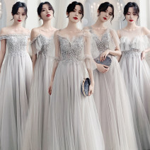 Dress / evening wear Weddings, adulthood parties, company annual meetings, daily appointments S ml XL XXL customized contact customer service Simplicity longuette middle-waisted Winter of 2019 Self cultivation One shoulder Bandage 18-25 years old Pure sense Flying sleeve Polyester 60% polyamide 40%