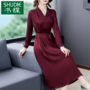 Dress Autumn 2020 Red peacock blue L XL 2XL 3XL 4XL 5XL Mid length dress singleton  Long sleeves commute V-neck middle-waisted Solid color Socket A-line skirt routine Others 35-39 years old Type A Book Butterfly Korean version Three dimensional decoration with embroidered lace SD307BH6073 other silk
