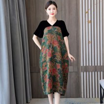 Dress Summer 2021 Picture color M L XL 2XL 3XL 4XL Mid length dress singleton  Short sleeve commute V-neck middle-waisted Decor zipper A-line skirt routine Others 40-49 years old Type A Book Butterfly ethnic style Patchwork printing SDE53NRJ1708 More than 95% other other Other 100%