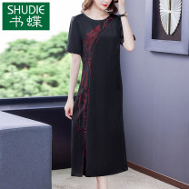 Dress Summer 2021 black L XL 2XL 3XL 4XL 5XL Mid length dress singleton  Short sleeve commute Crew neck middle-waisted Decor zipper A-line skirt bishop sleeve Others 40-49 years old Type A Book Butterfly Korean version Embroidery SDA15NRJ5219 71% (inclusive) - 80% (inclusive) other silk