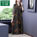 Dress Summer 2021 Picture color M L XL 2XL 3XL 4XL Mid length dress singleton  elbow sleeve commute V-neck middle-waisted Decor zipper A-line skirt routine Others 40-49 years old Type A Book Butterfly Korean version printing SDB28NRJ9291 More than 95% other other Other 100%