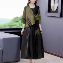 Dress Summer 2021 green L XL 2XL 3XL 4XL Mid length dress Two piece set three quarter sleeve commute V-neck middle-waisted Decor zipper A-line skirt routine Others 40-49 years old Type A Book Butterfly ethnic style printing SDB09NRJ8718 More than 95% other other Other 100%