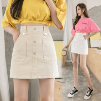skirt Summer 2021 S M L XL White Black Beige Short skirt Versatile High waist A-line skirt Solid color 25-29 years old JY#2972 More than 95% Ji Yue other Other 100% Pure e-commerce (online only)