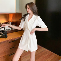 Dress Summer 2021 White black S M L XL Short skirt singleton  Short sleeve commute tailored collar High waist Solid color double-breasted One pace skirt routine Others 18-24 years old Type A Ji Yue Korean version Button JY#6201 More than 95% other other Other 100%