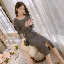 Dress Winter 2020 Dark grey black S M L XL Middle-skirt singleton  Long sleeves commute V-neck High waist Solid color Single breasted One pace skirt routine Others 25-29 years old Bo Manfang Korean version Bandage T-7691 More than 95% knitting polyester fiber Pure e-commerce (online only)