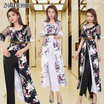 Dress Spring 2020 White black S M L XL XXL longuette singleton  Long sleeves commute One word collar High waist Decor Socket Big swing Others 18-24 years old Type A Call for butterflies printing YC-1379 More than 95% polyester fiber Pure e-commerce (online only)