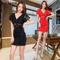 Dress Spring 2020 Red and black S M L XL XXL Short skirt singleton  Short sleeve commute V-neck High waist Solid color Socket One pace skirt straps 25-29 years old Type H Call for butterflies Splicing BL-3132 91% (inclusive) - 95% (inclusive) polyester fiber Pure e-commerce (online only)