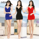Dress Summer of 2018 Black, red, blue S M L XXL Miniskirt singleton  Sleeveless commute V-neck High waist Solid color Socket One pace skirt camisole 18-24 years old Type H Call for butterflies Ol style 91% (inclusive) - 95% (inclusive) polyester fiber Pure e-commerce (online only)