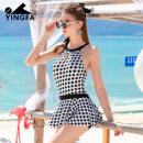 one piece  Yingfa M,L,XL,XXL,XXXL black Skirt one piece With chest pad without steel support polyester fiber , nylon , spandex Y2120 female Sleeveless Casual swimsuit