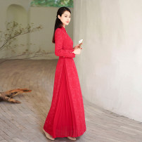 cheongsam Autumn 2020 XS (pre sale) , S (pre sale) , M (pre sale) , L (pre sale) , XS (in stock) , S (in stock) , M (in stock) , L (in stock) Red (length: 125) , Red (length: 135) Long sleeves long cheongsam Retro No slits daily Solid color polyester fiber