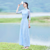 Dress Summer of 2019 Light pink (length 125cm), blue (length 125cm), light pink (length 135cm), blue (length 135cm) Xs, s, m, l, XS (spot), s (spot), m (spot), l (spot) Mid length dress singleton  three quarter sleeve commute stand collar routine Others Type A ethnic style