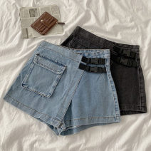 Jeans Summer 2020 Light blue, black gray S,M,L shorts High waist Wide legged trousers routine 18-24 years old other 51% (inclusive) - 70% (inclusive)