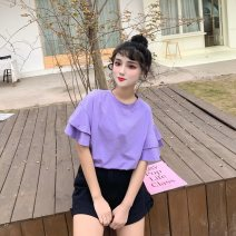 T-shirt 425 * purple 425 * white 425 * rose M L XL 2XL Summer of 2019 Short sleeve Crew neck easy Regular Lotus leaf sleeve commute other 96% and above 18-24 years old lady classic Solid color Newciiteer Other 100%