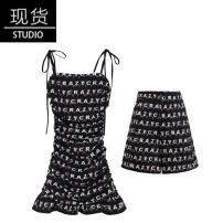 Dress Summer of 2019 Lettered Print Shorts XS,S,M,L Mid length dress Two piece set Sleeveless Sweet letter camisole Type A
