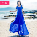 Dress Spring of 2019 royal blue S M L XL XXL XXXL longuette singleton  Short sleeve commute Crew neck High waist Solid color Socket Big swing other Others 18-24 years old Lan Yu Korean version LY-9019-19 More than 95% Chiffon polyester fiber Polyester 99% other 1% Pure e-commerce (online only)