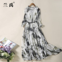 Dress Spring 2017 Decor S M L XL XXL XXXL longuette singleton  three quarter sleeve commute Crew neck middle-waisted Abstract pattern zipper Big swing Princess sleeve Others 25-29 years old Type X Lan Yu literature Wave zipper printing LY-6004 More than 95% Chiffon polyester fiber Polyester 100%