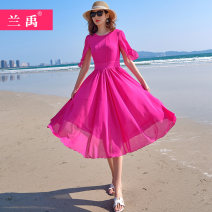 Dress Spring of 2019 rose red S M L XL XXL XXXL longuette singleton  Short sleeve Sweet Crew neck middle-waisted Solid color zipper Big swing other Others 18-24 years old Lan Yu one thousand seven hundred and twenty-six - twenty More than 95% Chiffon polyester fiber Polyester 98% other 2%