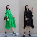 Dress Summer 2020 Black green S M L longuette singleton  Short sleeve commute Crew neck Loose waist Solid color Socket A-line skirt routine Others 25-29 years old Type A Jiangdan Menglu Splicing 31% (inclusive) - 50% (inclusive) organza  cotton New polyester fiber 60% cotton 40%