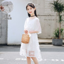 Dress White, light blue female Other / other 130cm (height 130 or so, weight 40-50jin, 140cm (height 140 or so, weight 50-60jin, 150cm) (height 150 or so, weight 60-80jin, 160cm (height 160 or so, weight 80-90jin, 170cm) (parent-child clothes, can be worn to 120jin) Other 100% summer lady Solid color