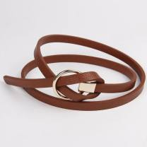 Belt / belt / chain other White, black, red, dark green, coffee, brown female belt Versatile Single loop Youth, youth, middle age Round buckle Glossy surface 1cm alloy