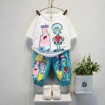 suit Other / other 90cm,100cm,110cm,120cm,130cm,140cm,150cm male summer Korean version Short sleeve + pants 2 pieces Thin money No model Socket nothing Cartoon animation cotton children Expression of love Class B 2, 3, 4, 5, 6, 7, 8, 9, 10, 11, 12 years old Chinese Mainland