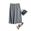 skirt Autumn 2020 S,M,L,XL Black, grayish blue longuette commute High waist A-line skirt Solid color Type A 25-29 years old polyester fiber zipper Ol style