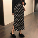 skirt Spring 2021 L,XL,2XL,3XL,4XL Black and white check Mid length dress commute High waist skirt lattice Type H 18-24 years old More than 95% other polyester fiber Three dimensional decoration, printing Korean version