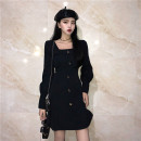 Dress Spring 2021 black S,M,L,XL,2XL Middle-skirt singleton  Long sleeves commute square neck High waist Solid color Single breasted A-line skirt other Others 18-24 years old Type A Other / other Korean version 31% (inclusive) - 50% (inclusive)