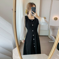 Dress Spring 2021 Black, white vest S,M,L,XL,2XL Mid length dress singleton  Long sleeves commute square neck High waist other Others Type A Retro