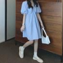 Women's large Summer 2021 Light blue, black Average size Dress singleton  commute moderate Socket Short sleeve Solid color Korean version V-neck bishop sleeve Q1118001 18-24 years old 96% and above Short skirt other zipper