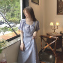 Women's large Summer 2021 Blue purple Average size commute Self cultivation Short sleeve Solid color Korean version square neck Medium length other puff sleeve Q1116202 18-24 years old 96% and above